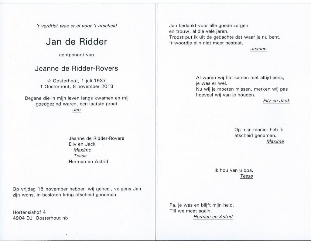 Rouwkaart Jan De Ridder Kloveniersgilde