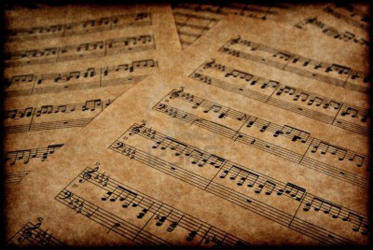 3195004-great-image-of-musical-notes-on-brown-parchment-paper